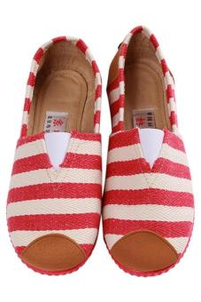 LALANG Fashion Canvas Shoes Striped Printed Casual Sneakers Red