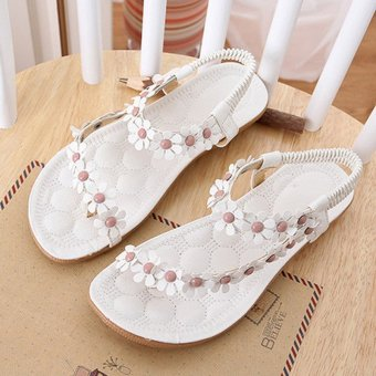 LALANG Hot Sales Summer Women Sandals Bohemia Flower Casual Toepost Flats Shoes White - 2