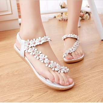 LALANG Hot Sales Summer Women Sandals Bohemia Flower Casual Toepost Flats Shoes White