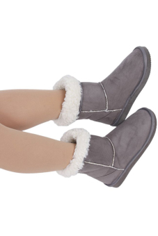 LALANG LALANG Chic Ladies Womens Rubber Sole Snow Ankle Boots Winter Warm Flat Casual Shoes Grey - 2