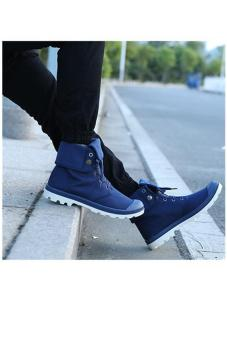 LALANG Men Canvas PU Boots High Cut Tube Down Sneaker Shoes Blue - - 3