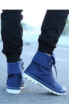 LALANG Men Canvas PU Boots High Cut Tube Down Sneaker Shoes Blue - - 2