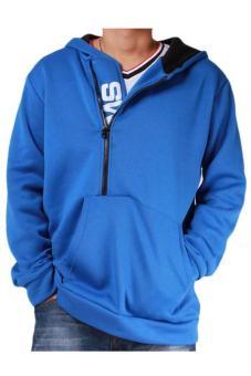 LALANG Men Casual Hoodies Outwear Slim Fit Jacket Blue