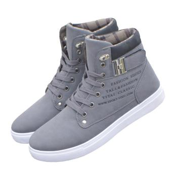 LALANG Men High Top Lace Ankle Boots Casual Warm Canvas Shoes40(Grey) - intl - 3