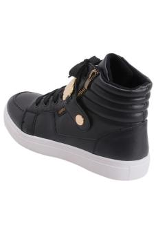 LALANG Men PU Leather Sneakers High Cut Sports Shoes Black - 4