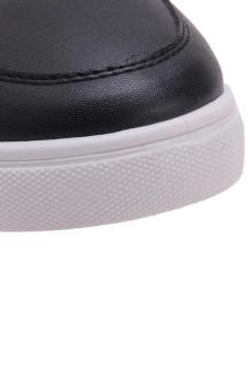 LALANG Men PU Leather Sneakers High Cut Sports Shoes Black - 5