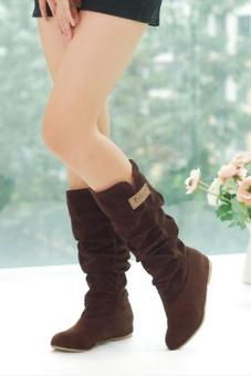 LALANG New Fashion Casual Flat Shoes Sweet Boot Stylish Mid-calfBoots Brown - 2