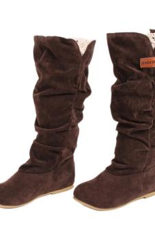 LALANG New Fashion Casual Flat Shoes Sweet Boot Stylish Mid-calfBoots Brown - 4