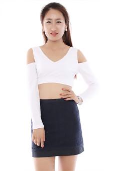 Lalang Sexy Vest V-Neck Off-Shoulder Crop Tops (White) - Intl - picture 2