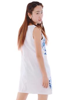 LALANG Sleeveless Chiffon Dress (White)