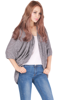 LALANG Women Batwing Sleeve Cardigan Jacket Casual Coat Tops Grey