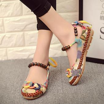 LALANG Women Beading Round Toe Embroidered Shoes Lace Up Increased Flats Shoes - 5