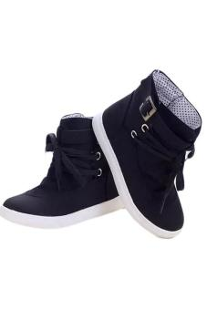 LALANG Women Lace-Up Ankle Boots Flat Canvas Shoes Sneakers Black