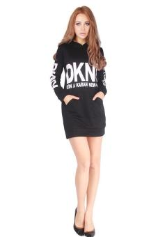 LALANG Women Letter Printed Pocket Long-sleeved Hooded Dress Black - picture 3