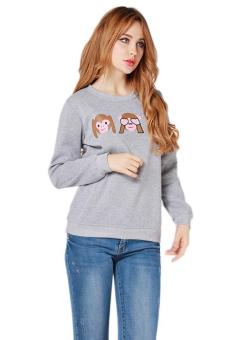 LALANG Women Monkey Printed Hoodies Casual Sweatshirt Light Grey
