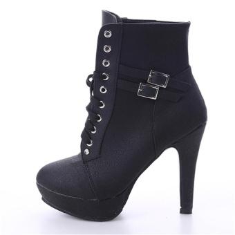 LALANG Women PU Leather Thin High Heel Short Boots (Black) - intl - 5
