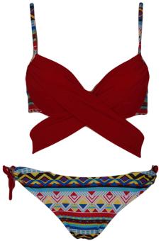 LALANG Women Sexy Printed Bikini Set Swimwear Red