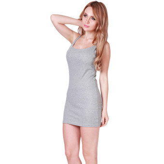 LALANG Women Sexy Suspenders Skirts Pencil Dress Grey - picture 2