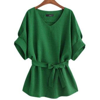 LALANG Women Vintage Bat Sleeve Blouses Loose Shirt Tops (Green) -intl - 3
