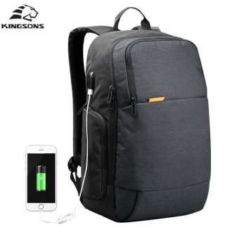 Lan-store Premium Quality Male / Female Backpack--External USB Charge Laptop Backpack Anti-theft Notebook Computer Bag 15.6 inch for Business Men Women Travel Bags (Black) - intl