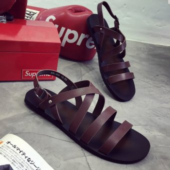 LBW Summer Men's Casual Handsome British Leather Sandals(brown) Price Philippines