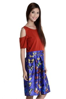 Leah 2 Butterflies Full Dress By Fashion Haus Online (Blue)
