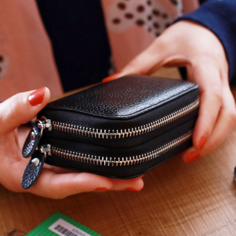 Leather double zip organ card holder (Black)