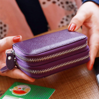 Leather double zip organ card holder (Purple)
