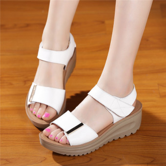 Leather female New style muffin mom shoes sandals (White)