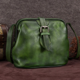Leather female shoulder New style retro bag leather women's bag (Dark green color)
