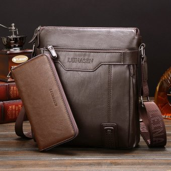 Leather Handbag High Quality Crossbody Bag Satchel Bag Vertical Section Male Korean Leisure Calfskin Business Messenger Bag (Brown /1 Wallet Inside)