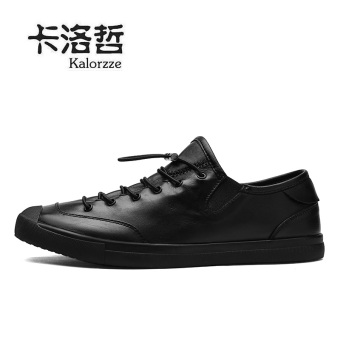 Leather lace round student men's shoes