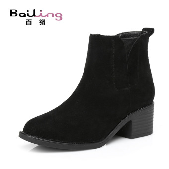 Leather matte Short Tube Martin boots autumn and winter women's shoes (Plus Velvet + Black)