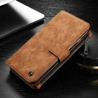 Leather Removable Wallet Flip Card Case Cover for Samsung S8 Plus(Brown) - intl