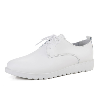 Leather Spring and Autumn New style white shoes casual shoes (White)