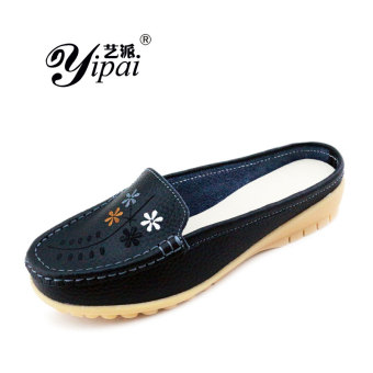 Leather spring and summer New style full moccosins slipper shoes (Black)