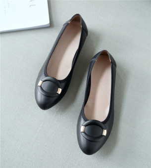 Leather spring New style flat mom shoes white shoes (Black version1) (Black version1)