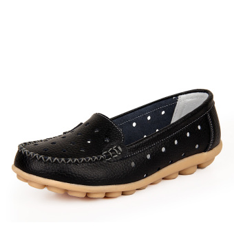 Leather Work nurse shoes moccosins (Black (summer punching))