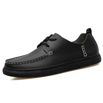 Lechgo Men Fashion Casual Shoes Leather Lace-Up Plus Big Size(Black) NYY097 - intl
