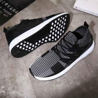 Lechgo Men Trend Fly Weave Runnning Sock Shoes Boost Soft SolesCasual Sport Shoes (Grey) NYY132 - intl - 5