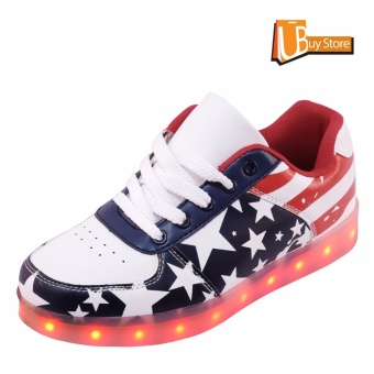 LED Light Lace Up Luminous Shoes Sportswear Sneaker Unisex Blue Stars Casual Shoes - intl