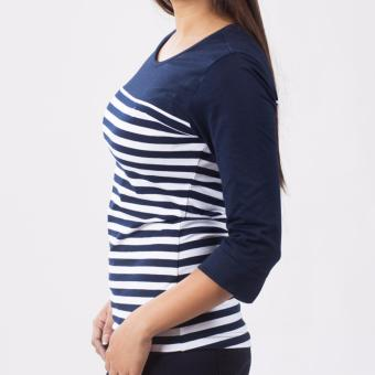 Lee Women 3/4 Sleeves Basic Fit Tee (Airforce Blue/White) - 2