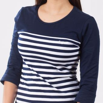 Lee Women 3/4 Sleeves Basic Fit Tee (Airforce Blue/White) - 5