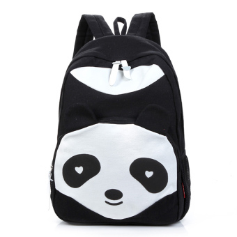 Leegoal Casual Canvas Panda Shape School Bags TravellingBackpack,Black - intl