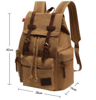 Leegoal Casual Daypack Backpack Canvas Bags for Women Men (Khaki) -intl - 2