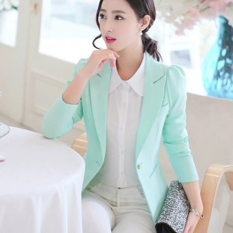 LEIKENISI Women's Korean-style Long Sleeve Blazer (Fruit green)