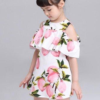 Lemon Print Off The Shoulder Fashion Dress For Girls Clothes (Pink) - intl - 4