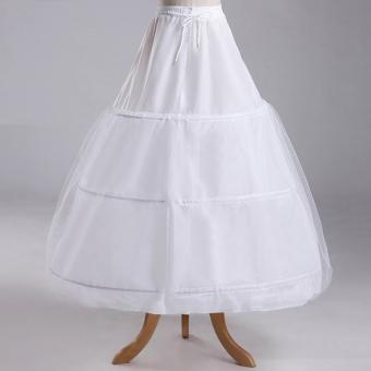 Leondo 3 hoops 1 layer hard tulle crinoline wedding dress petticoat- intl - 2