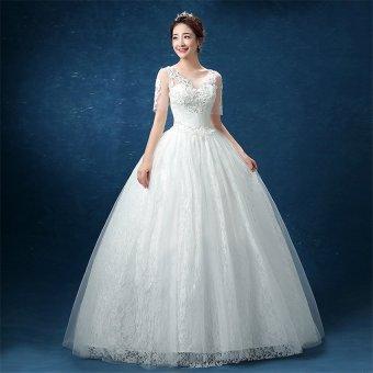 Leondo floor length wedding dress v neck half sleeves (ivory) soft net skirt bridal gowns - 3