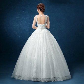 Leondo floor length wedding dress v neck half sleeves (ivory) soft net skirt bridal gowns - 4